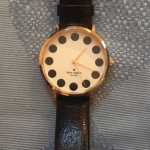 Kate Spade Watch. Black Leather Band. YG PVD Case